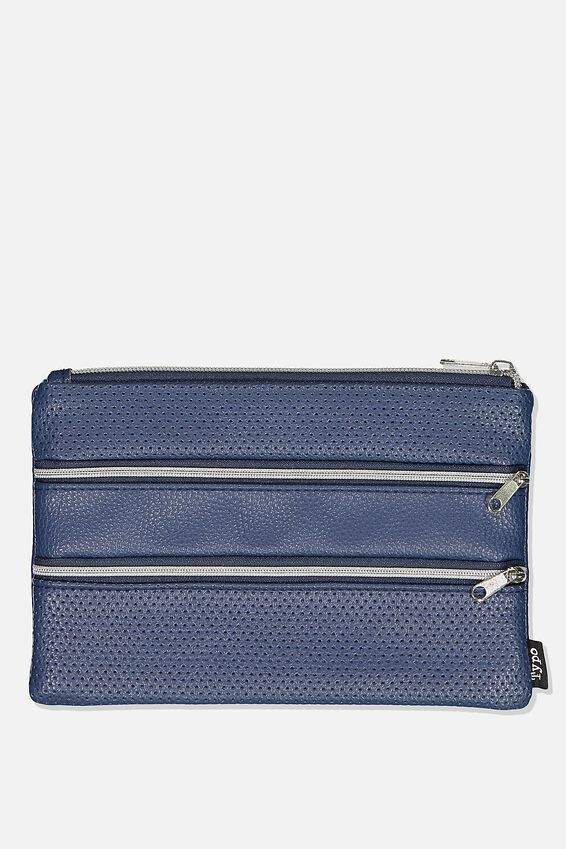 Double Archer Pencil Case, NAVY