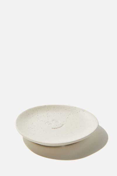 Mood Ceramic Tray, WHITE SPECKLE HAPPY FACE
