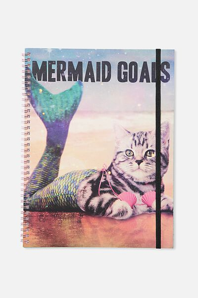 A4 Spinout Notebook - 120 Pages, MERMAID GOALS CAT