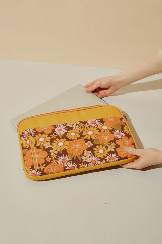 Take Charge 13 Inch Laptop Cover Cvp, STEVIE FLORAL WITH MUSTARD