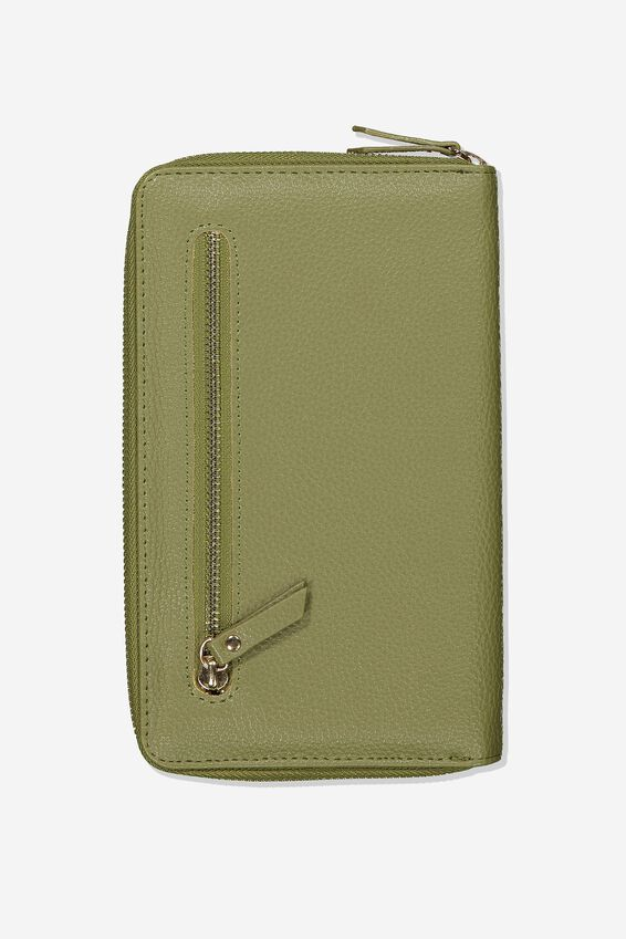Rfid Odyssey Travel Compendium Wallet, KHAKI WITH FLORAL DETAIL