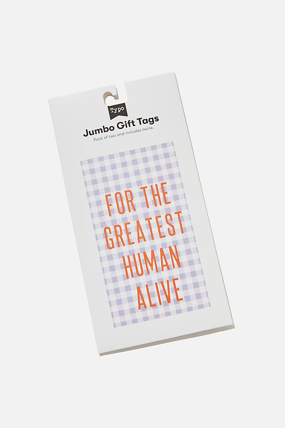 Jumbo Gift Tag Pack, GREATEST HUMAN LILAC GINGHAM