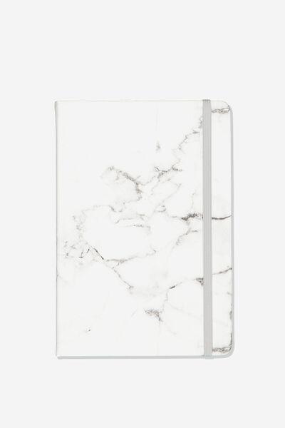 A5 Blank Buffalo Journal, WHITE MARBLE