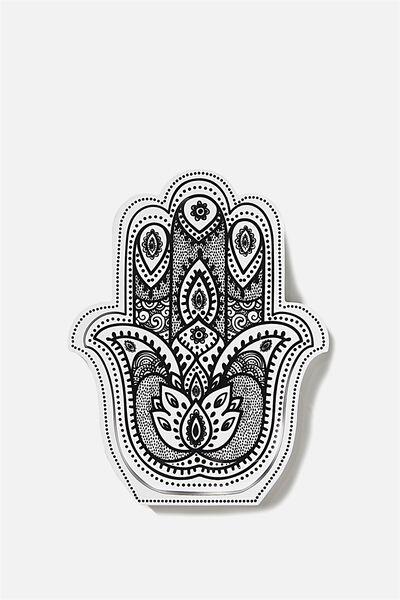 Wooden Symbols White, HAMSA HAND