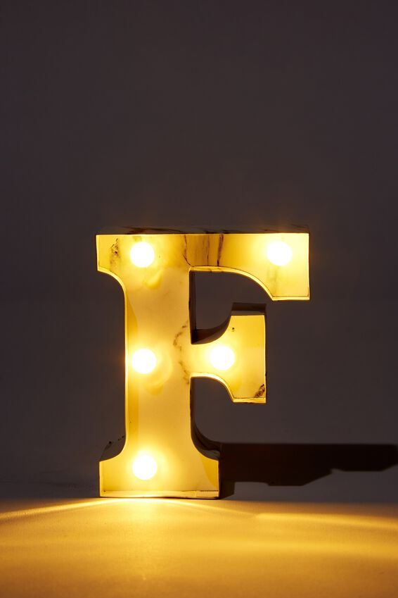 Mini Marquee Letter Lights 10cm, MARBLE F