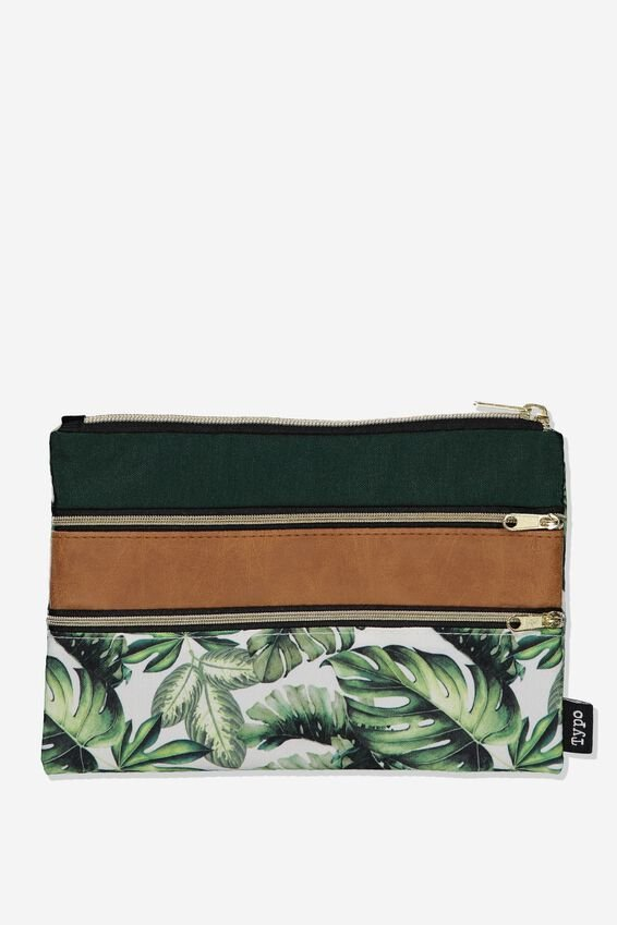 Double Archer Pencil Case, MONSTERA