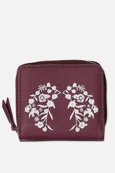 Mini Wallet, BURGUNDY LACE