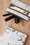 Double Archer Pencil Case, GOLD AND WHITE MARBLE