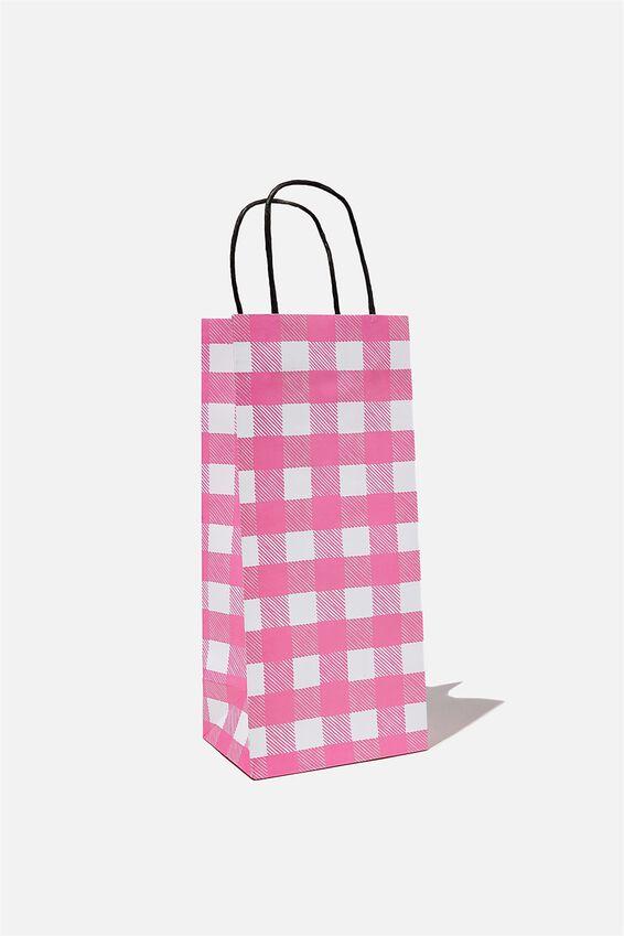 Bottle Gift Bag, PINK GINGHAM SMALL