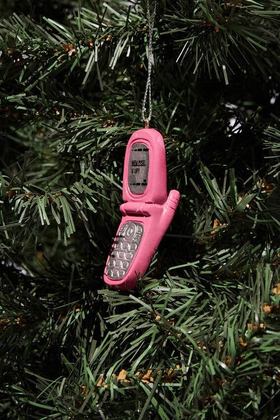 Resin Christmas Ornament, RETRO FLIP PHONE