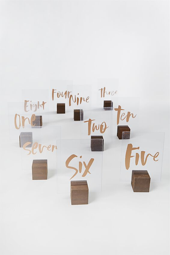 Table Numbers Wooden Base, VINTAGE & ROSE GOLD