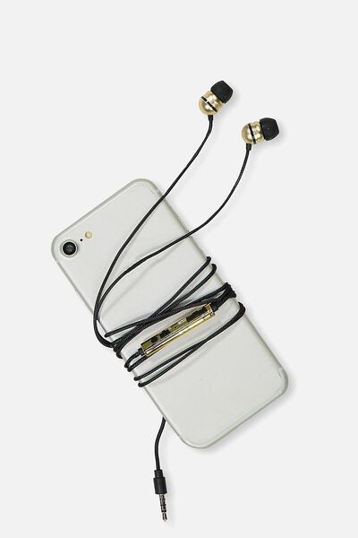 Luxe Earphones, BLACK & GOLD