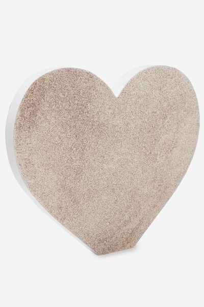 Wooden Symbol, GOLD GLITTER HEART