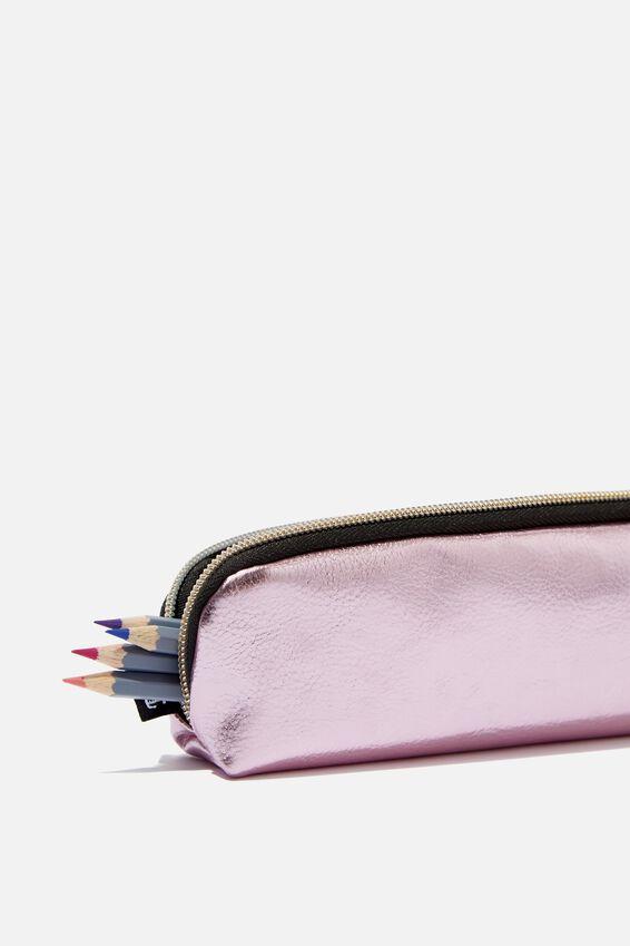 Mini Bailey Pencil Case, PURPLE METALLIC