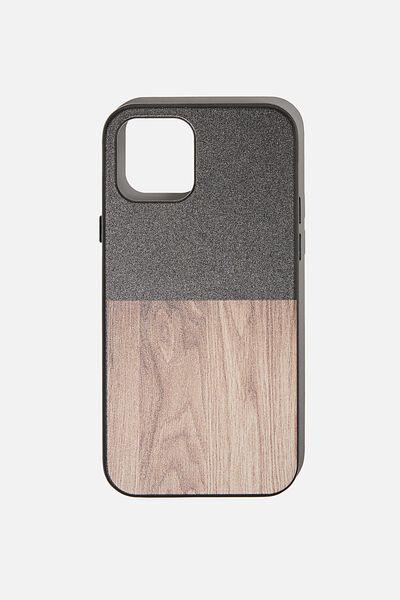 Snap On Protective Phone Case Iphone 12, 12 Pro, BLACK & MAPLE WOODGRAIN SPLICE