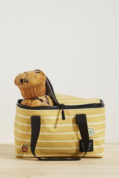 BYO Lunch Bag, WASHED MUSTARD 70S STRIPE