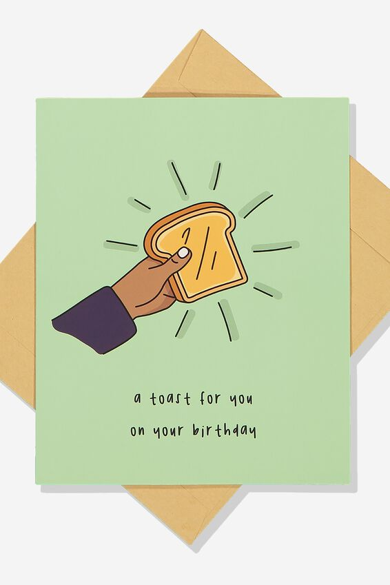 Premium Funny Birthday Card, SCENTED BIRTHDAY TOAST