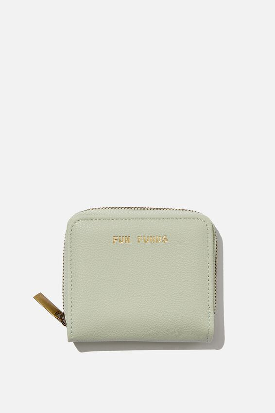 Rfid Mini Wallet, WASHED SAGE FUN FUNDS