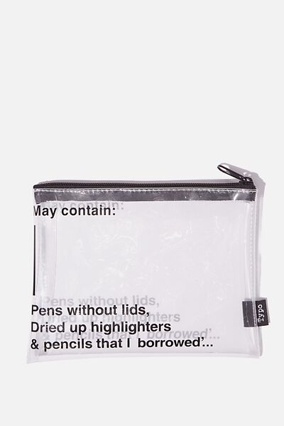 Clear It Pencil Case, MAY CONTAIN