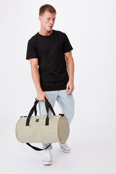 Canvas Barrel Bag, PINSTRIPE KHAKI