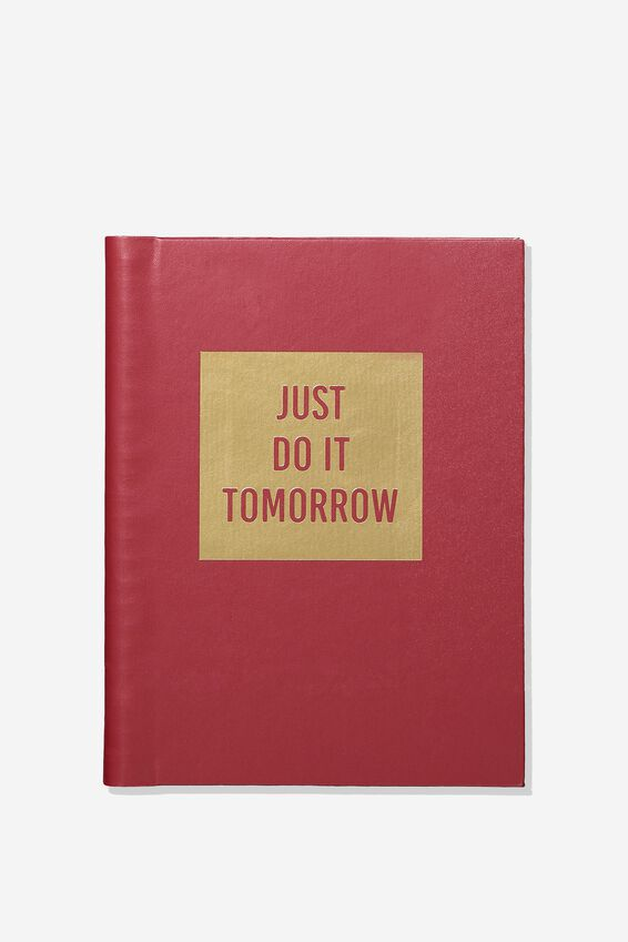 A5 Hidden Spiral Notebook, BURGUNDY JUST DO IT