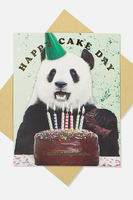 Funny Birthday Card, HAPPY CAKE DAY PANDA
