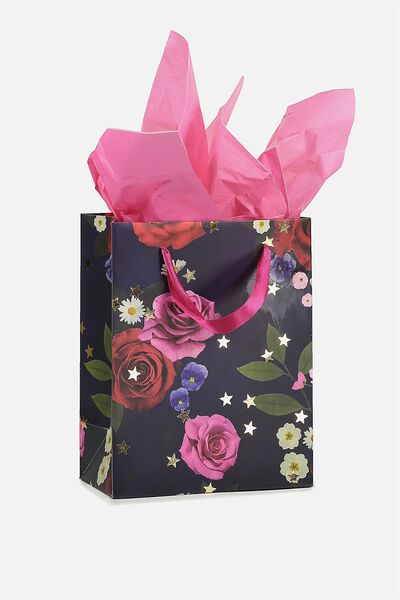 Small Gift Bag with Tissue Paper, NAVY FLORAL