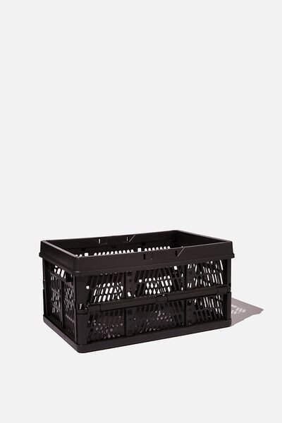 Midi Foldable Storage Crate, BLACK