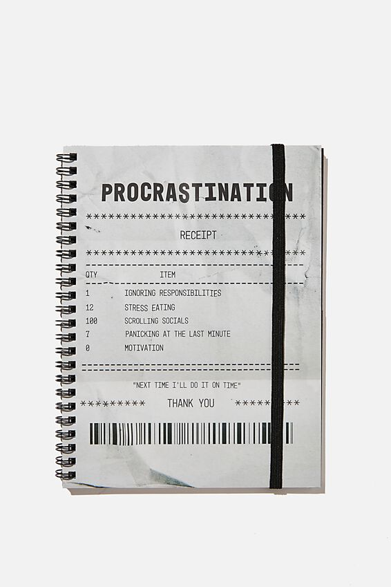 A5 Spinout Notebook Recycled, PROCRASTINATION RECIEPT