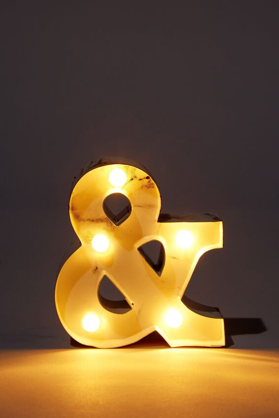 Mini Marquee Letter Lights 10cm, MARBLE AND SYMBOL
