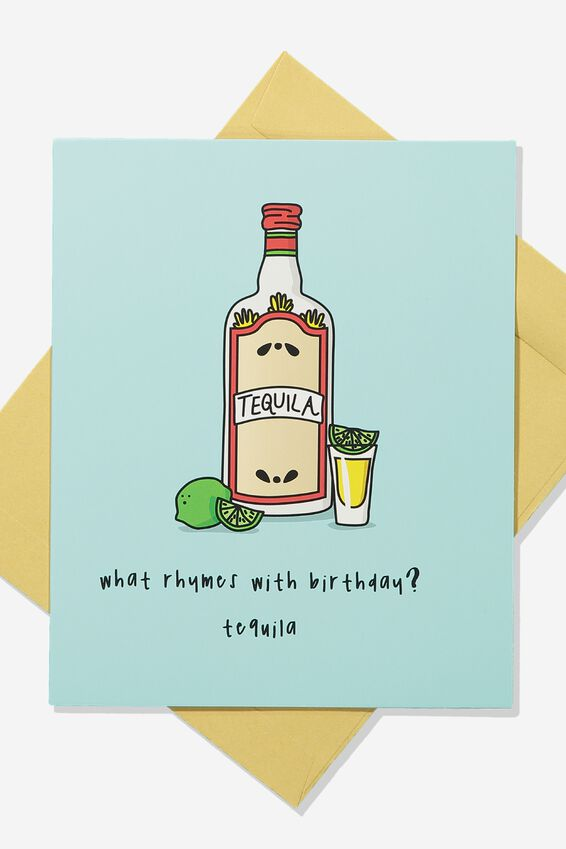 Premium Funny Birthday Card, RHYMES WITH BIRTHDAY