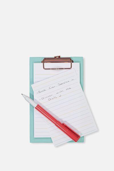 Magnetic Clipboard And Pen, AQUA BLUE