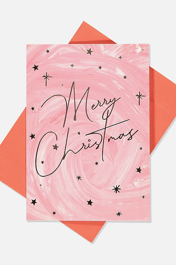 Christmas Card 2019, MERRY CHRISTMAS RED WATERCOLOUR