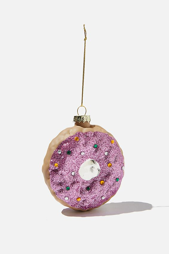 Glass Christmas Ornament, SPRINKLE DONUT