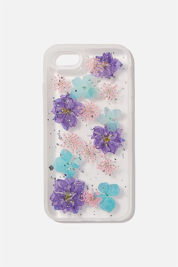 Snap On Protective Phone Case SE, 6, 7, 8, BLUE & PINK TRAPPED FLOWER