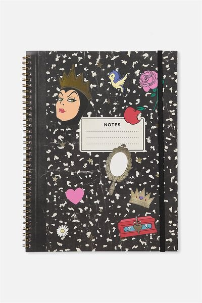 A4 Spinout Notebook - 120 Pages, LCN SNOW WHITE QUEEN COLLAGE