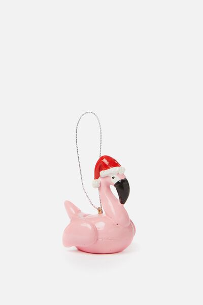 Christmas Ornament, SANTA FLAMINGO FLOATIE
