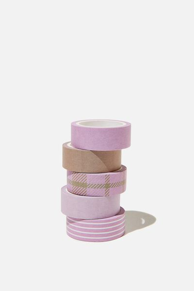 Washi Tape 5Pk, RETRO CHECK PLASTIC PINK