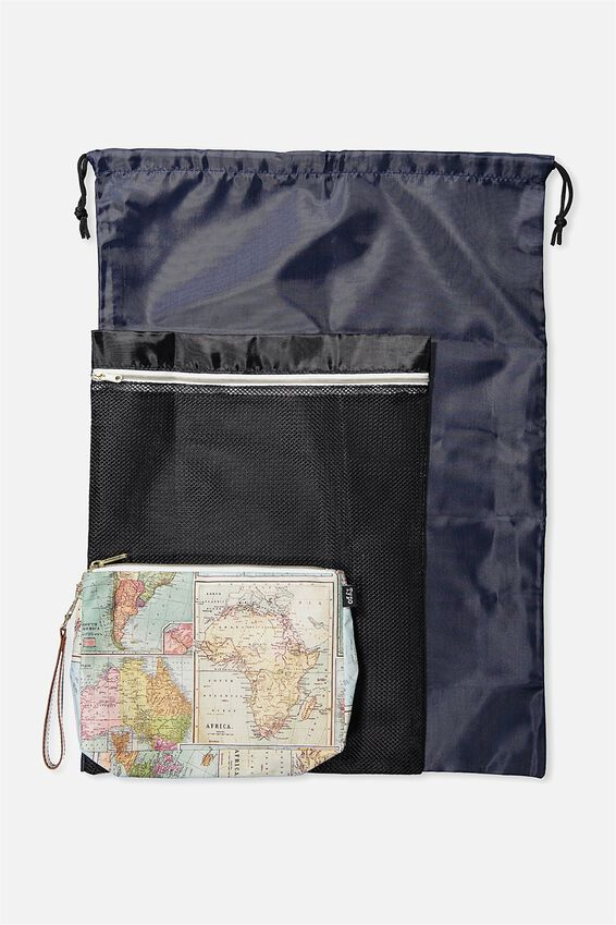 3 Pc Travel Organiser Bags, WORLD MAP PRINT