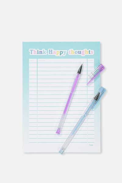 A5 Plan Ahead Planner, BLUE HAPPY THOUGHTS