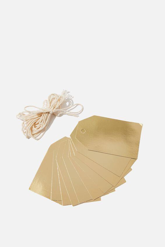 Gift Tags Set 10, GOLD FOIL