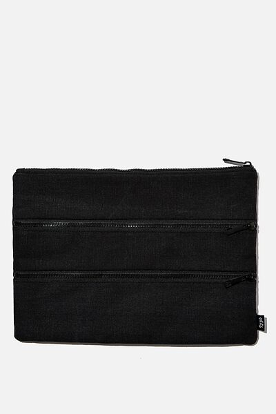 Keep It Together Pencil Case, BLACK WASHED CANVAS