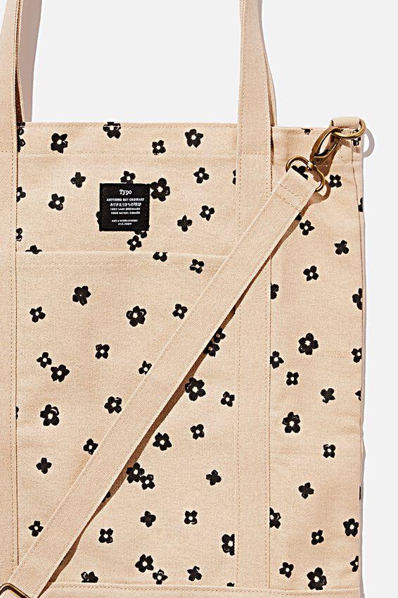 Book Tote Bag, CHARLIE FLORAL OAT MILK