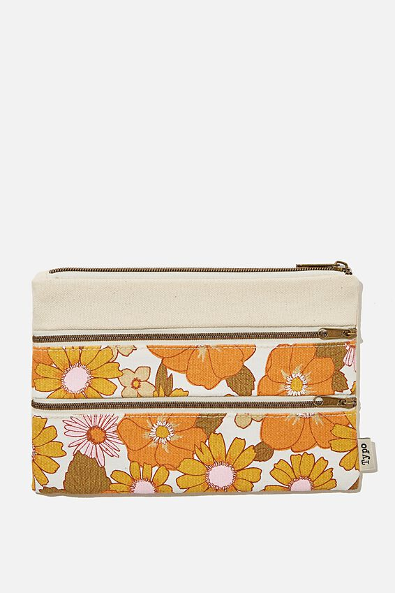 Double Archer Pencil Case, ORANGE AND PINK STEVIE FLORAL