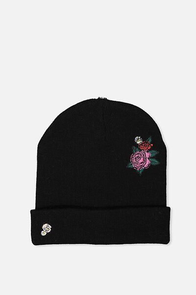 Personalised Beanie, BLACK FLORAL