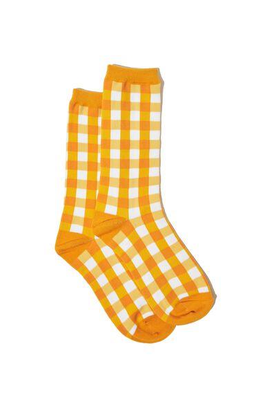Novelty Socks, MUSTARD GINGHAM