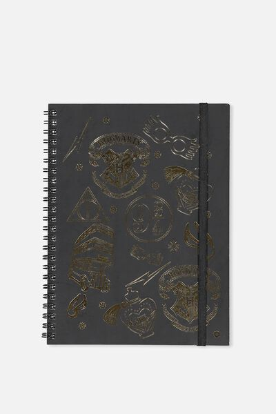A5 Spinout Notebook - 120 Pages, LCN WB HOGWARTS PATCHES