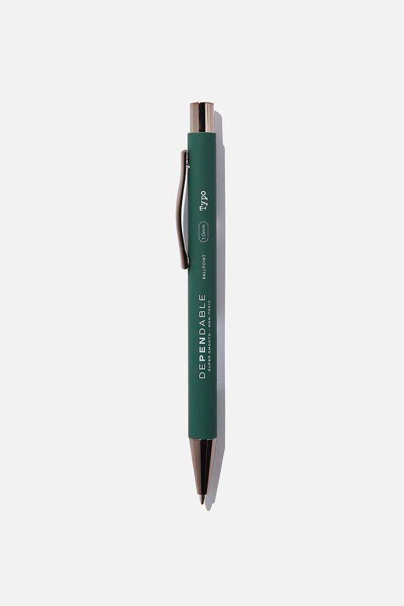 Dependable Ballpoint Pen, DEEP GREEN