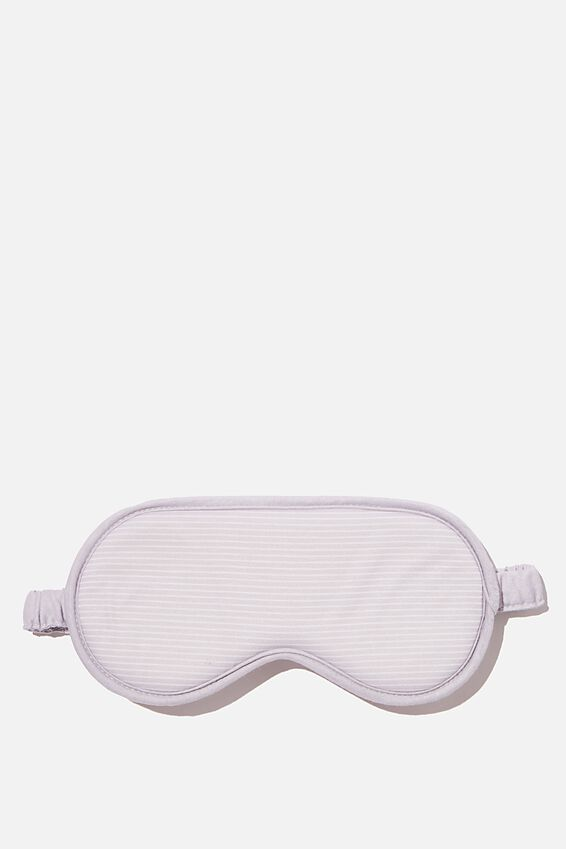 Premium Eyemask, LIGHT GREY NEUTRAL STRIPES WITH BORDER