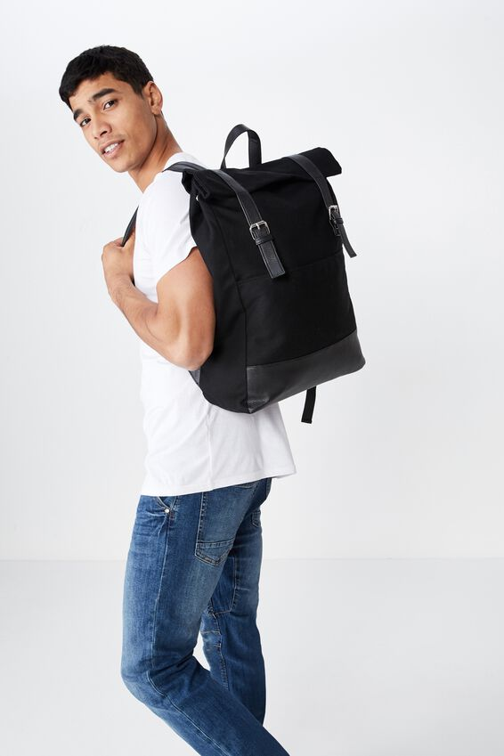 Roll Top Backpack, BLACK MULTI